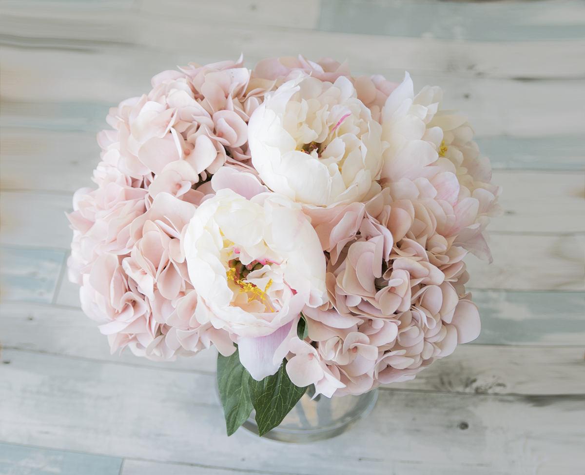 Silk blush pink hydrangeas and peonies centerpiece large zoom reviewsmspy