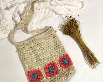 Floral Crochet Crossbody Bag