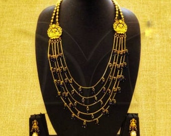 Laxmi ji necklace set, Temple jewelry, multilayer, Indian necklace, South Indian jewelry, Temple necklace, Goddess Laxmi, Blue stone, Golden
