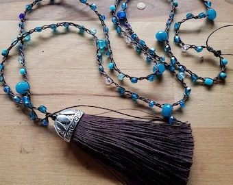 Tassel necklace Turquoise and expresso brown beaded tassel crochet long urban gypsy boho necklace