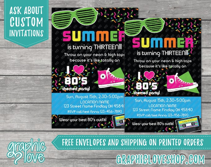 Featured listing image: Personalized 80s Theme Black and Neon Birthday Invitation, Any Age | 4x6 or 5x7, Digital File or Printed, FREE US Shipping & Envelopes