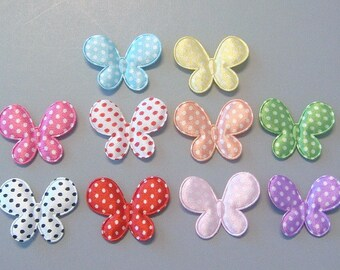 20 Padded Satin Swiss Dot Butterfly Appliques EA207