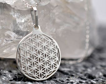 Flower of life pendant Sterling Silver, sacred geometry necklace, mens jewelry, womens jewelry