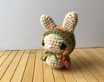 Autumn Forest Moon Bun - Amigurumi Bunny Rabbit with Removable Hood - Red Riding Hood Style Bunny