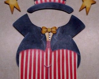 Wooden Uncle Sam Outfit - for Wooden Welcome Animals - Interchangeable wood outfit.