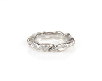 Curvy Silver Stack Ring, Ripples Ring, Satin Silver Ring, Thick Stack Ring, High Polish Silver Ring, Unique Wedding Band, made in California