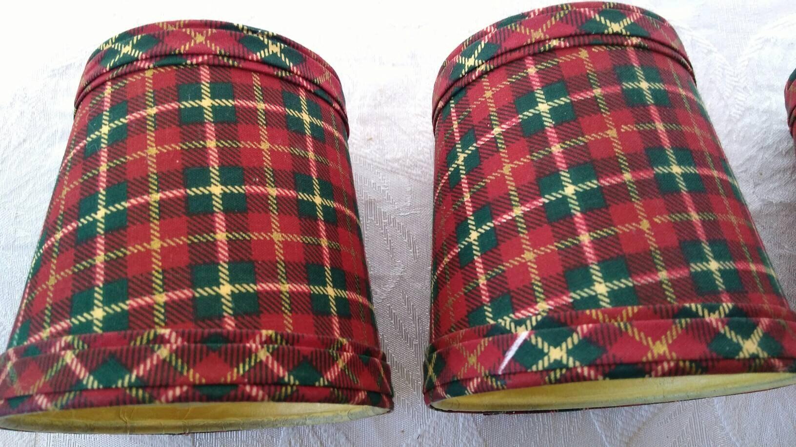 Set of 4 matching plaid tartan chandelier shades red black green yellow tartan chandelier shades red black green yellow gallery photo gallery photo arubaitofo Choice Image