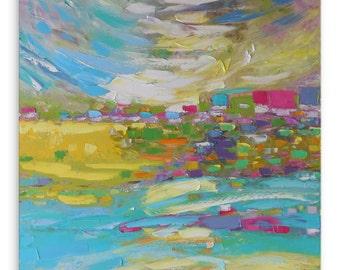 Easter Morning - Impasto painting Bright artwork Intuitive art Large artwork Expressive art Square artwork Pastoral painting Impressionistic