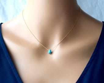 Turquoise necklace, Turquoise gold jewelry - smooth Turquoise necklace pendant - turquoise jewelry - Protect, Love  - aim true on your goals