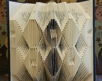 Folded book art, double hexagon design , recycled book sculpture