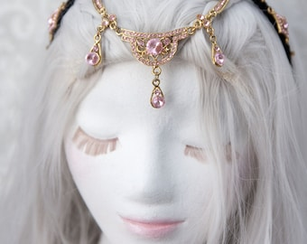 Circlet Headpiece   Pretty in Pink   Fantasy Cosplay, Rhinestone Headband, Fairytale Wedding, Fairy Crown, Renaissance Headpiece