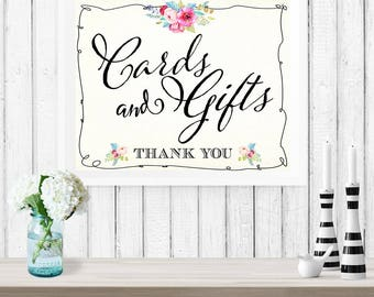 Cards & Gifts Floral Poster - INSTANT DOWNLOAD - Printable Wedding Sign, Thank you, Watercolor, Reception, Decoration, Bridal Shower