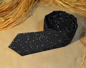 Men's Necktie - Stars Tie - Astronaut Gift - Boyfriend Gift - Black Space Necktie