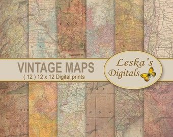 MAP DIGITAL PAPER, Vintage maps, Antique maps, Map Collage Sheets, Pack of old maps for vintage scrapbooking projects