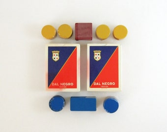 Vintage Card Game Set - Dal Negro Cards - Italian Playing Cards & Poker Chips - Boxed Double Deck of Cards - Poker Game Set - Made in Italy