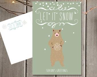 Vacaciones invierno postal set / Let It Snow feliz Navidad tarjetas / tarjetas de felicitación de Navidad imprimió juego de tarjetas