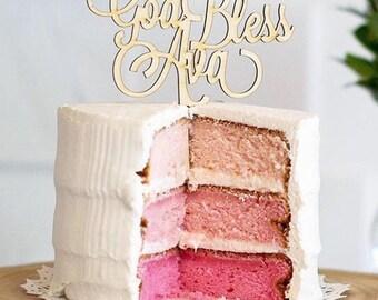 Custom God Bless Cake Topper, Baptism Cake Topper, Christening Cake Topper, Communion Cake Topper, Religious Cake Topper, Wood Topper