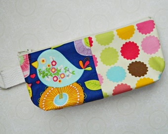 Cosmetic Case Make Up Bag Purse Pouch Tote Wallet - READY TO SHIP - Birds - Birdies - Tweet - Cute - Fabric - Fun - Colorful-Pretty - Cyndee