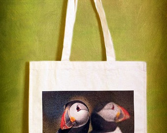 Canvas Tote Bags, Inspired by Nature, Puffins, Owls, Flamingo, Butterflies, Duckling, Flowers and Horses. Shoulder Bag, Shopping Bag