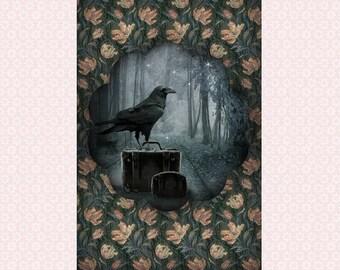 Halloween card, 10 x 15 cm print fine art soft texture.