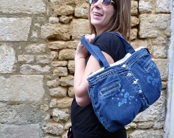 "Recycled denim zipped purse painted ""the Moon and stars"""