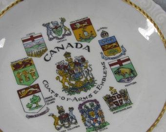 Vintage Collectible Souvenir Plate Canada Travel Home Decor Fine Bone Collectible England Canadian Coats of Arms
