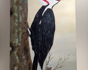 Woodpecker Painting - Woodpecker Wall Art - Woodpecker On Wood Painting - Pileated Woodpecker Painting - Woodpecker Decor - Woodpecker Gift