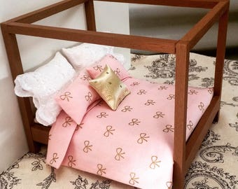 Dollhouse canopy bed and bedding set, cute bed for dollhouse 1/12 scale , four poster bed, play set.