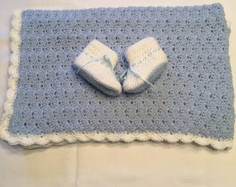Handmade Baby Blanket and Booties