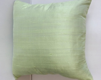Powder Green dupioni silk pillow covers. 17 inch throw pillows. Light green decorative pillow.  20 % discount  2pcs in stock