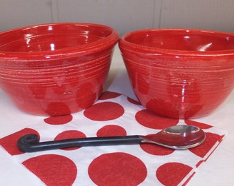 Red with White Hearts Ceramic Prep Bowls, Nesting Bowls