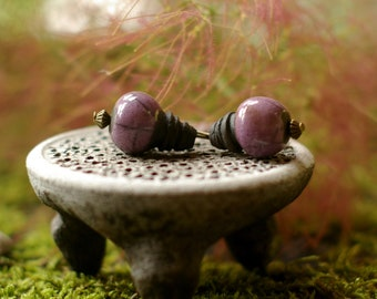 drop shaped, ceramic beads, set of 2 beads, purple raku technique on black and matte clay, jewelry accessory