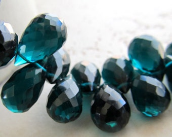 Dark Peacock Teal Blue Green Quartz Faceted Teardrop Briolettes 14 X 8mm - 8 inch Strand