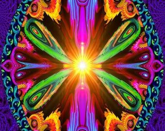 "Psychedelic Energy Art, Reiki Healing, Spiritual Art Print, ""Recalibration"""