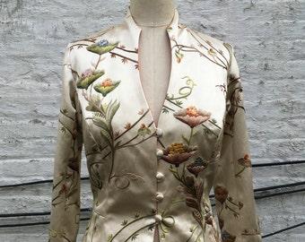 Ivory Floral Embroidered Satin Long Edwardian Wedding Coat, size Medium