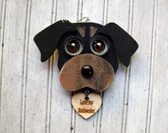 Rottweiler Ornament, Recycled Hand Made Ornament, Rottweiler dog, handmade Reclaimed wood dog art