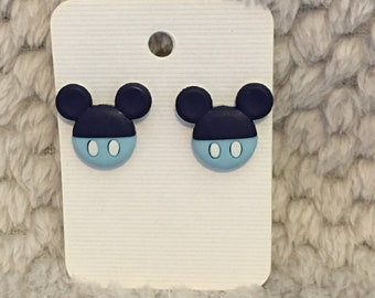Navy and Light Blue Mickey Stud Earring
