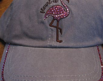 Pink FLAMINGO FLAUNT IT Swarovski Beach Cap-Rose Pink Crystals-Chic Resort Wear-Poolside Bling Hat Florida Bird-Flamingo Bling