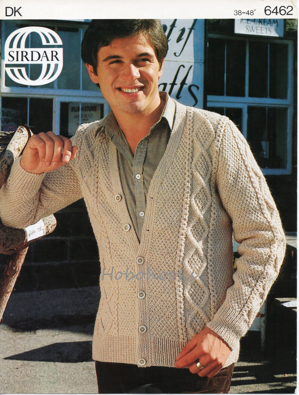 mens aran cardigan knitting pattern cable jacket 38-48inch DK