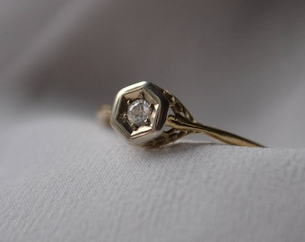 Beautifully whimsical, vintage or possibly antique 14K yellow and white old mine cut Diamond engagement ring