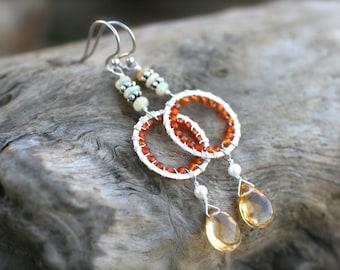 Ethiopian Opal, Orange Carnelian, Yellow Citrine, White Pearl, Sterling Silver Wire Wrapped Earrings, Colorful Multi Gemstone Earrings