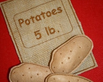 Digital Download  Potatoes and Potato Sack Felt Play Food Embroidery Machine Design for the 5x7 hoop