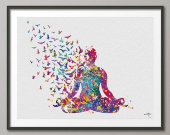 Yoga Art, Yoga Sukhasana, Yoga Poster, Yoga Pose, Yoga Print, Yoga Watercolor, Yoga Studio, Yoga Decor, Yoga Wall Decor, Yoga Gift, Yoga-880