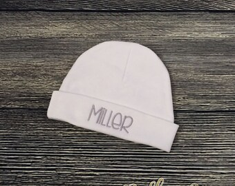 Baby BOY Monogram Beanie, PERSONALIZE Boy Hospital Hat, Boy Custom Take Home Hat, Monogram Layette Cap, Infant Boy Beanie, Made to Order