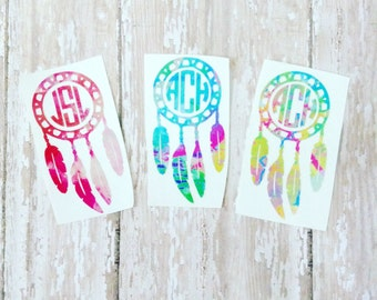 Monogram Dream Catcher/boho/ Gypsy /Feathers / Personalized/ water color