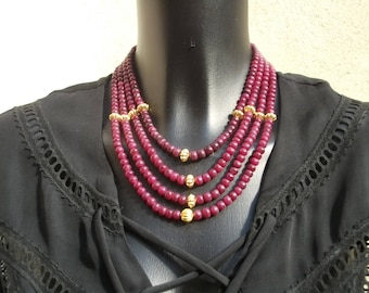 Necklace 4 rows of rubies in vermeil and gold 14 k.