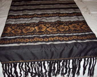 Vintage Table Runner Black Gold Dresser Scarf Embroidered Floral Sheer Fringe Far East
