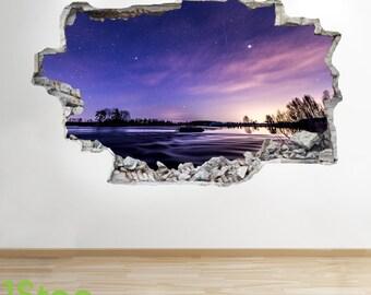 Night Sky Wall Sticker 3d Look - Stars Moon Kids Bedroom Lounge Wall Decal Z151
