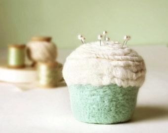 Pincushion - Felted Cupcake in Vanilla Mint