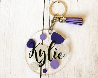 Polka Dot Key Chain - Polka Dot Key Ring - Purple Key Chain - Personalized Key Chain - Personalized Key Ring - Custom Key Ring - Key Tassel